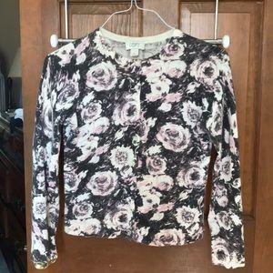 Pretty Loft rose cardigan sweater